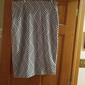 Black and cream pencil skirt